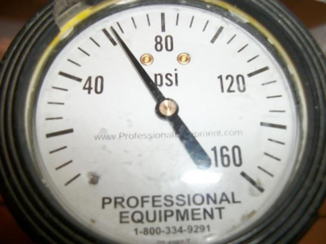 The Water Pressure is tested to be sure it is within the 40lbs. to 80 lbs. PSI range, (pounds per sq. in.)